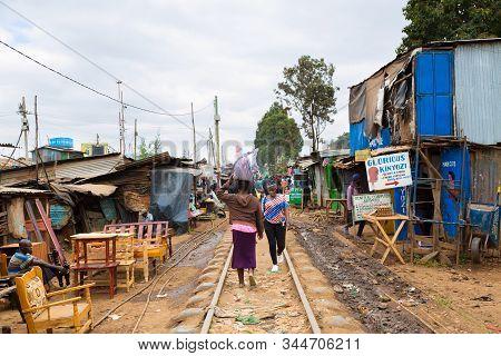 Nairobi, Kenya - August, 2019: Kibera Is The Biggest Slum In Africa. Slums In Nairobi, Kenya.