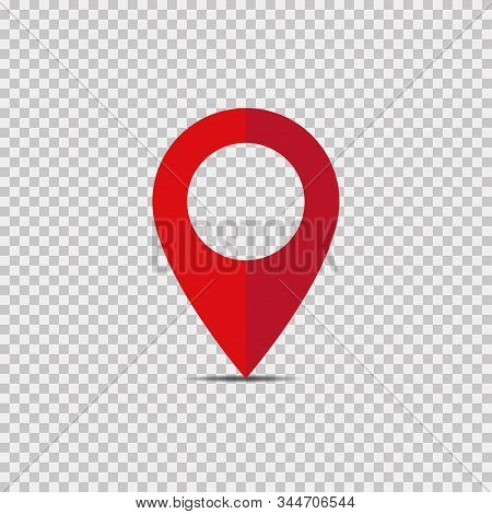 Red Pointer Vector Isolated Location Isolated Element On Transparent Background. Location Marker But