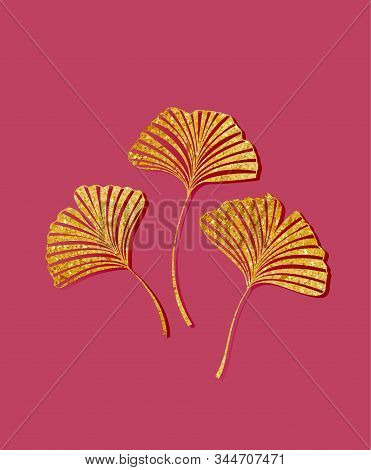 Vector Illustration Of Ginkgo Biloba Leaves. Background With Golden Leaves. Ginkgo Branches For Invi