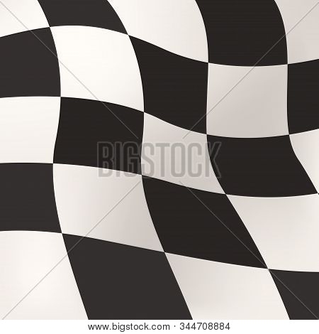Illustration Of Race Flag Black And White Squares Warped In Square Format