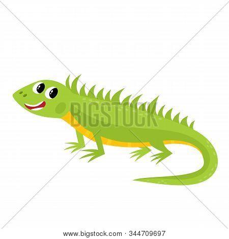 Vector Illustration Of Cartoon While Animal - Iguana Isolated On White