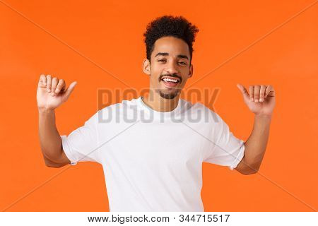 Cool And Stylish, Boastful African-american Male With Tattoos, Moustache, Pointing Thumbs At Himself