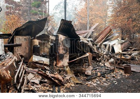Australian Bushfire Aftermath: Burnt Building Ruins And Rubble At Blue Mountains, Australia