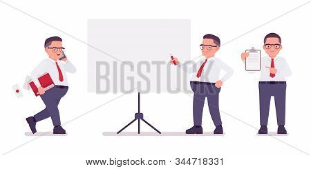 Fat Male Clerk Working At Board, With Papers. Heavy Middle Aged Business Guy, Office Manager, Civil
