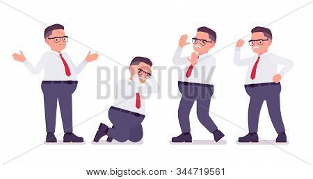 Fat Male Clerk Busy In Positive Emotions. Heavy Middle Aged Business Guy, Office Manager And Civil S