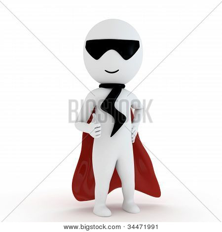 3d small people as super hero and flying in the air with super power and range