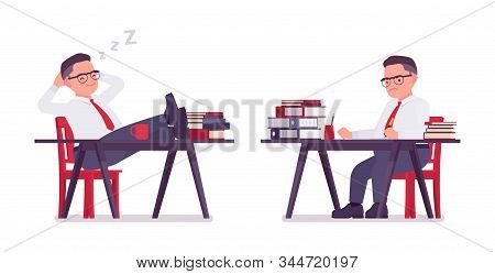Fat Male Clerk Working, Sleeping At Desk. Heavy Middle Aged Business Guy, Office Manager And Civil S