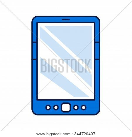 Digital Tablet Color Line Icon. Innovation Technology. E-learning Reading On Electronic Touch Screen
