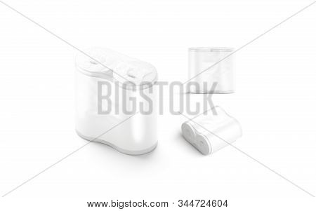 Blank White Paper Towel Pack With Label Mockup Set, Different Sides, 3d Rendering. Empty Overlay Toi