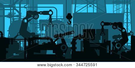 Industrial Plant Shop Interior, Factory Production Line - Manufacturing Department With Engineering
