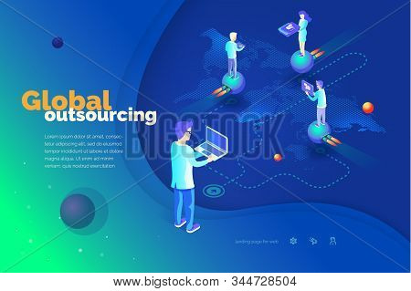Global Outsourcing. A Man With A Laptop Manages Outsourcing. World Map. Outsource Professionals To D