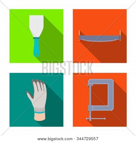 Vector Illustration Of Renovation And Household Icon. Set Of Renovation And Handicraft Vector Icon F