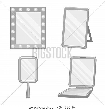 Isolated Object Of Reflection And Glass Sign. Set Of Reflection And Reflect Stock Symbol For Web.
