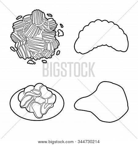 Vector Design Of Chips And Crisp Symbol. Set Of Chips And Food Stock Vector Illustration.