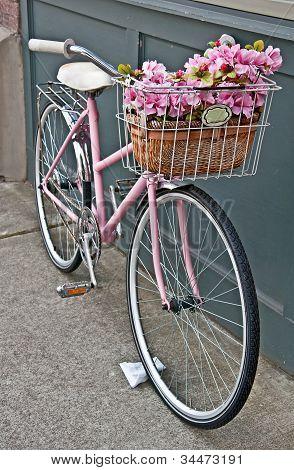 Vintage Pink Bicycle With Pink Flowers