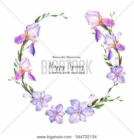 Decorative Watercolor Wreath With Iris And Freesia Flowers On A White Background, Watercolor With Cl