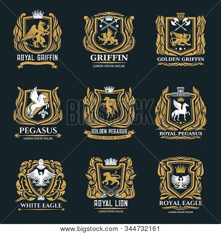 Heraldic Royal Vector Icons Of Golden Griffin, Eagle, Pegasus And Lion Symbols. Medieval Gold Herald