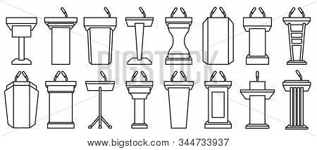 Podium Of Tribune Line Vector Illustration On White Background . Rostrum And Podium Set Icon.isolate