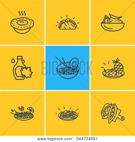 Vector Illustration Of 9 World Cuisine Icons Line Style. Editable Set Of Moroccan Couscous, Turkish