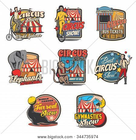 Circus Retro Icons With Vector Carnival Top Tents, Trained Animals And Performers. Clown, Elephant A