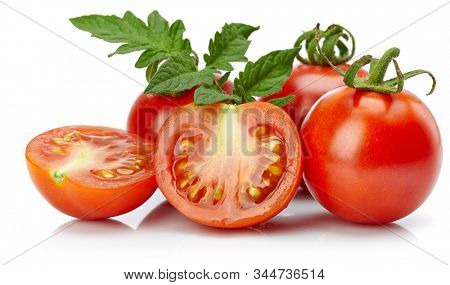 Tomato in cut with leaf for packaging and label. Still life harvest vegetable. Healthy food organic foodstuff. Isolated on white background.