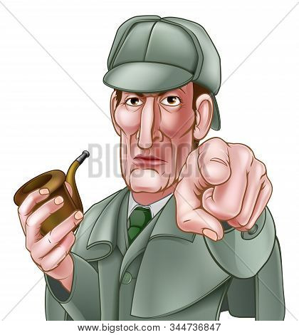 A Sherlock Holmes Style Victorian Detective Cartoon Character Pointing At The Viewer And Holding A P