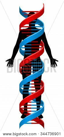 A Human Person Figure In Silhouette With A Double Helix Dna Genetics Chromosome Strand Surrounding I