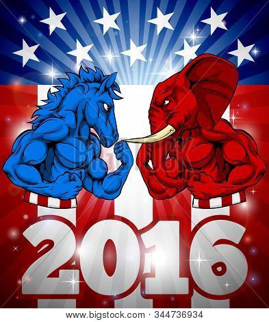 A Donkey Versus Elephant 2016 Election Concept Poster With The Symbols Of The Democrat And Republica