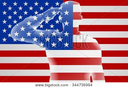 American Soldier Saluting In Front Of An American Flag Memorial Day Or Veterans Day Design