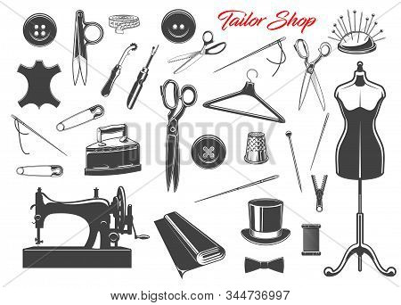 Tailor Shop And Sewing Tool Icons. Thread, Needles And Scissors, Sewing Machine, Spool And Button, T