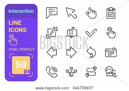 Set Of Interaction Line Icons With Perfect Pixel Vector Illustration. Left And Right Arrow Mailbox D