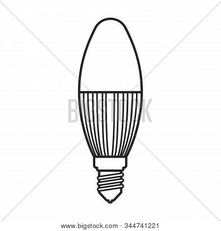 Halogen Bulb Vector Icon. Line Vector Icon Isolated On White Background Halogen Bulb.