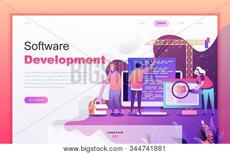 Modern Flat Cartoon Design Concept Of Software Development For Website And Mobile App Development. L