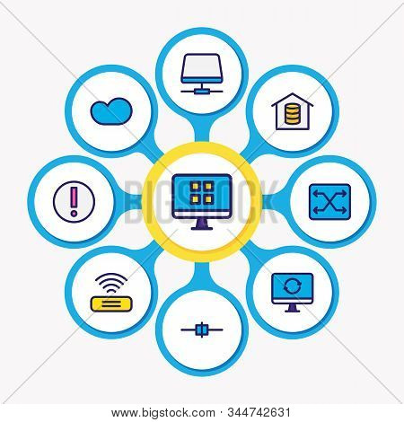 Illustration Of 9 Network Icons Colored Line. Editable Set Of Root Server, Cloud Storage, Voip Gatew