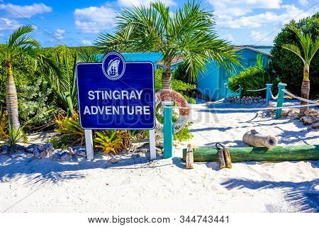 Half Moon Cay, Bahamas - December 02, 2019: Welcome Sign At Stingray Adventure At Half Moon Cay, Lit