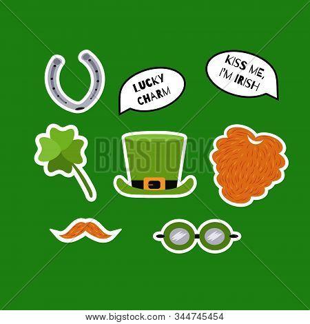 St. Patricks Day Sticker Set. Red Beard, Whiskers, Shamrock, Leprechaun Hat, Horseshoe, Speech Bubbl