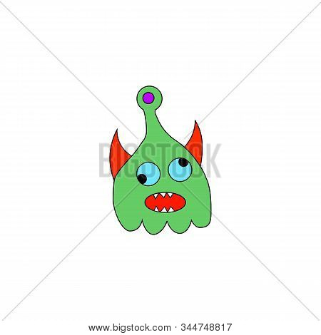Vector Illustration Of Hand Drawn Cute Strange Monster. Colorful Doodle Character.