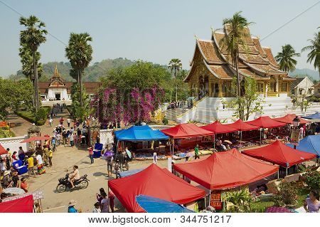 Luang Prabang, Laos - April 13, 2012: View To The Central Street Market During Lao New Year Celebrat