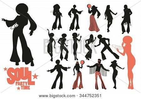 Soul Dance Clipart Collection. Set Of Soul, Funk Or Disco Dancers Isolated On White Background.