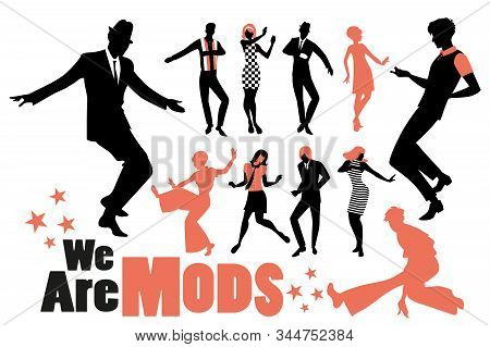 Pop And Soul Dance Clipart Collection. Set Of Mods And Northern Soul Dancers Isolated On White Backg