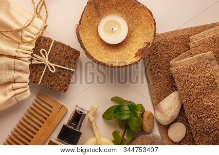 Spa And Wellness Concept, Natural Coffee Scrub Soap In Eco Bag, Oil Cosmetics Spray, Peeling Sand St