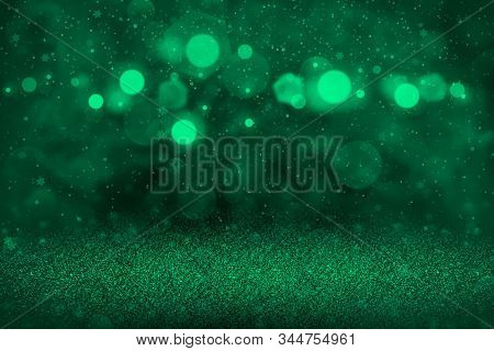 Teal, Sea-green Pretty Glossy Abstract Background Glitter Lights With Falling Snow Flakes Fly Defocu