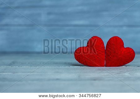 Love Hearts On Wooden Texture Background. Valentines Day Card Concept. Heart For Valentines Day Back