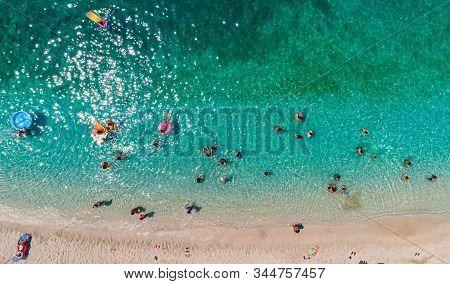 Aerial View Of Sarakiniko Beach With Turquoise Sea In Parga Area, Ionian Sea, Epirus, Greece
