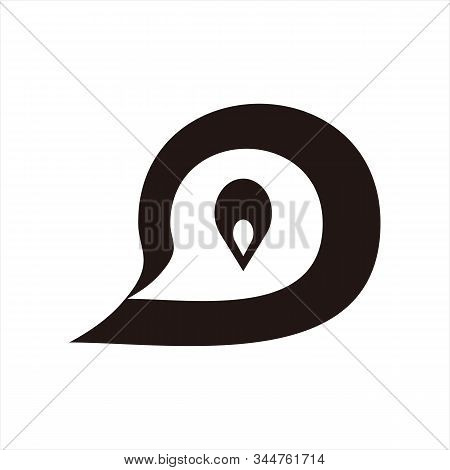 Message Icon, Icon With A White Background. Simple Icon. Message Icon Combined With Coordinate Ballo