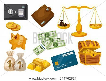 Set Of Isolated Bank Bag With Dollar Signs, Golden Coins And Banknotes, Gold Ingot And Credit Card,
