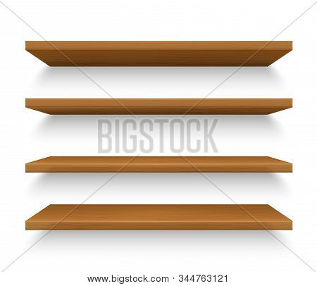 Set Of Isolated Realistic Wooden Shelves On Wall. Book Shelf Made Of Wood For Interior. Timber Rack