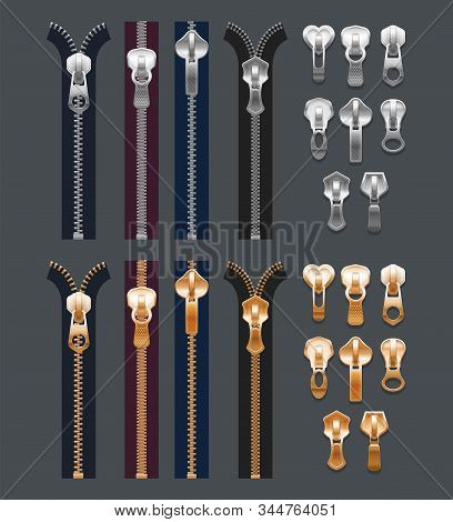 Set Of Isolated Realistic Metal Zippers Or 3d Fabric Zip. Cloth Stitch Or Fastener, Closed Locker An