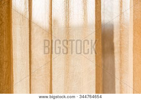 Beige Translucent Curtain With Creases - Translucent Ideas For Applying To The Background