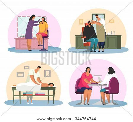 Manicure Salon With Woman And Barbershop With Man, Massage And Make Up. Stylist And Masseur, Stretch